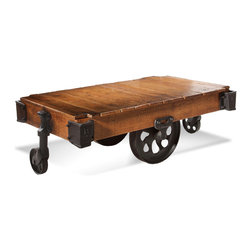 Bassett Mirror - Factory Cart Table - Make a statement with this industrial chic factory cart coffee table. Cast metal hardware contrasts with the warmth of the refinished hardwood surface, and you can easily imagine it being used to haul goods from the factory floor to a dock.