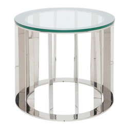 Nuevo Living - Trika Side Table - One thing is perfectly clear: Your style is all about light, shine and cool design. No wonder you're drawn to this glass and stainless steel side table, the perfect accent piece for your favorite contemporary setting.