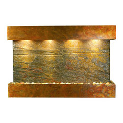 Sunrise Springs Wall Fountain, Rustic Copper, Green Slate, Square Frame - The Sunrise Springs Wall Fountain is a centerpiece of serenity and beauty of nature that is perfect for your home or office. It exudes an experience of being one with nature within your own workplace or living room.