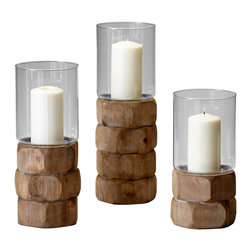 Cyan Design - Cyan Design Small Hex Nut Candleholder X-93740 - This Cyan Design candle holder from the Hex Nut Collection features a smaller design. The base features stacked, oversized hex nuts, which are finished in a Natural Wood for an unexpected twist. The top features a clear glass cylinder, which adds contrast and completes the look.