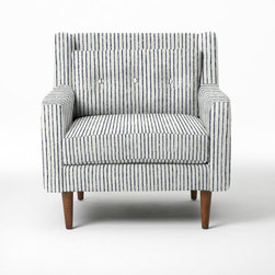 Crosby Armchair, Painted Stripe, Regal Blue - I could see a pair of these slim-armed upholstered chairs opposite a handsome leather sofa in a living room. I love the imperfect, hand-painted stripes.