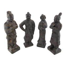 Set of 4 Terra Cotta Chinese Warrior Statues - This set of Chinese warrior statues is a wonderful addition to shelves, bookcases, or tables in your home or office. Made of terra cotta, each statue measures approximately 8 1/2 inches tall, 3 1/2 inches wide, and 2 1/2 inches deep. They feature a wonderful crackled finish that is sure to complement most any decor. This set makes a lovely gift for a friend that is sure to be admired.