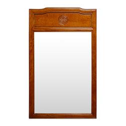 China Furniture and Arts - Rosewood Longevity Design Mirror - Beveled in rosewood frame with a single elegant Longevity symbol hand-carved on the top, our classic rectangle rosewood mirror easily fits a variety of decorating styles. To hang in the bedroom, bathroom or hallway. Mounting brassware included. Hand-applied natural rosewood finish.