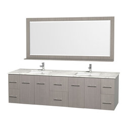 Wyndham Collection - 80 in. Wall Mounted Vanity Set in Gray Finish - Includes mirror. Faucet not included. Four functional doors. Six functional drawers. Twelve stage wood preparation, sanding, painting and finishing process. Highly water resistant low V.O.C. sealed finish. Unique and striking contemporary design. Modern wall mount design. Deep doweled drawers. Fully extending under mount soft close drawer slides. Concealed soft close door hinges. Single faucet hole mount. Plenty of storage space. Plenty of counter space. Matching mirror with shelf. Square porcelain undermount sinks. 5.5 in. thickness. Engineered to prevent warping and last a lifetime. Made from environmentally friendly zero emissions solid oak hardwood. Exterior hardware with brushed chrome finish. Minimal assembly required. Mirror: 70 in. W x 33 in. H. Vanity: 80 in. W x 22.25 in. D x 22.75 in. H. Care Instructions. Assembly Instructions - Vanity. Assembly Instructions - Sink. Mirror Installation GuideSimplicity and elegance combine in the perfect lines of the Centra vanity by the Wyndham Collection. If cutting-edge contemporary design is your style then the Centra vanity is for you - modern, chic and built to last a lifetime. The attention to detail on this beautiful vanity is second to none.