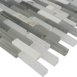"Sample Nexus Mont Blanc Mini 1/4 Sheet Glass Tile - sample-NEXUS MONT BLANC MINI BRICK 1/4 SHEET GLASS TILE SAMPLE You are purchasing a 1/4 sheet sample measuring approximately 3 "" x 12 "". Samples are intended for color comparison purposes, not installation purposes. -Glass Tiles -"