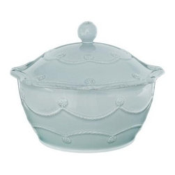 "Juliska - Juliska Berry and Thread Small Covered Casserole Blue - Juliska Berry and Thread Sm. Covered Casserole BlueMake a stylish entrance with this versatile ice blue serving piece that can go straight from your oven to the table for a moveable feast that makes volunteering to bring your signature dish a cinch. Dimensions: 4"" H x 8"" W Capacity: 1.5 Qt"