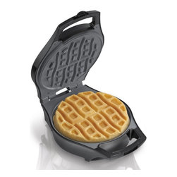 Hamilton Beach - Hamilton Beach 26040 Mess Free Belgian Style Waffle Maker - 26040 - Shop for Waffle Makers from Hayneedle.com! Making waffles has never been more fun or as mess-free as with the Hamilton Beach 26040 Mess Free Belgian Style Waffle Maker. Designed with a deep grid that features a built-in overflow it contains your batter and makes a single waffle that is even pre-grooved to make easy-to-dip waffle sticks. It also features a non-stick grill power ready lights and pre-measured batter cup. Waffle-on breakfast lovers!About Hamilton BeachOne of the country's leading distributors of small kitchen appliances Hamilton Beach Brands Inc. sells over 35 million appliances every year. The company's most famous brands -- Hamilton Beach Eclectrics Proctor Silex and TrueAir -- are found in households across America Canada and Mexico. Hamilton Beach takes immense pride in their product quality wide variety of options superior customer service and brand name strength and remains committed to serving customers through Good Thinking applied to the style and function in all of their small electric appliances.