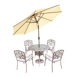 Oakland Living - 7-Pc Outdoor Dining Set - Includes table, four stackable chairs with cushions, 9 ft. tilt crank umbrella with stand and metal hardware. Traditional lattice pattern and scroll work. Handcast. Hardened powder coat. Fade, chip and crack resistant. Warranty: One year limited. Made from rust free cast aluminum. Antique bronze finish. Minimal assembly required. Table: 42 in. Dia. x 29 in. H (44 lbs.). Chair: 23 in. W x 22 in. D x 35.5 in. H (25 lbs.)The Oakland Mississippi collection combines grace style and modern designs giving you a rich addition to any outdoor setting. We recommend that the products be covered to protect them when not in use. To preserve the beauty and finish of the metal products, we recommend applying an epoxy clear coat once a year. However, because of the nature of iron it will eventually rust when exposed to the elements.