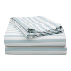 "Cotton Rich 600 Thread Count Olympic Queen Sheet Set Cabana Stripe, Light Blue - Send yourself on a tropical vacation every night with this Cabana Inspired sheet set from Impressions. This design features stripes of white and the sets specified color and is made with a superior blend of materials that makes these sheets soft, easy to care for and wrinkle resistant. Set includes one flat sheet 97""x105"", one fitted sheet 66""x80"", and two pillowcases 20""x30"" each."