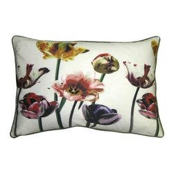 Pillow Decor - Pillow Decor - Blooming Tulips 16 x 24 Throw Pillow - The Blooming Tulips 16 x 24 Throw Pillow is a piece of art in itself. Vibrant and colorful, this decorative throw pillow will look stunning in any room of your home. The pillow is made with a high quality, durable cotton and is seamed and finished with piping and a hidden zipper. The front of the pillow displays a fantastic print of multicolored tulips with rich olive and fig green stems. The background color and the back of the pillow is bright white. The piping on the pillow is olive green which finishes off the pillow with a pretty contrast against the white. This pillow teams up well with solid color pillows or looks wonderful on its own.