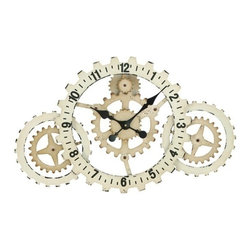 "BZBZ52123 - Metal Wall Clock with Elegant Grandeur and Majestic Charm - Metal Wall Clock with Elegant Grandeur and Majestic Charm. Absolutely elegant and chic, this metal wall clock lends an air of opulence to your living room. It comes with a dimension of 20"" H x 32"" W x 2"" D."