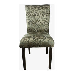 None - Classic Floral Print Print Parson Chairs (Set of 2) - Add some wild flair to your decor with these elegant gold and brown Rose print parson chairs with nail head. The chairs are not only fashionable, they also have a contoured back and a comfortable seating cushion.