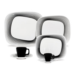 Oxford Pircelains - Karim Rashid Wisk line 30 pc Dinner/Tea Set - Karim Rashid Collection- Shift Line-30 pieces Dinner and Tea Set- Shift Collection has an innovative uneven shape exclusively designed by Karim Rashid for Oxford Porcelanas. Known for its futuristic vision, the artist belongs to a new generation of designers that inserts functionality and beauty on our everyday tools and products.  His works include designs to Veuve Clicquot, Samsung, Kenzo, Sony, Umbra, Bonaldo and Vondom.