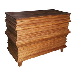 """Noir - Noir Bernard Chest - Noir's Bernard chest captivates with bold texture and unexpected form. The furnishing's rustic, weathered wood design meets intriguing ribbed carvings for unparalleled style. 45""""W x 21""""D x 32.5""""H; Dark walnut; Six drawers on glides; Sealer not applied; Wax coat applied; Knots, gouges, cracks and nail holes are inherent characteristics"""