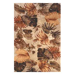 KAS - Sparta Palm Leaves 3148 Beige Rug by Kas - 3 ft 6 in x 5 ft 6 in - The use of floral patterns and color stylings is simply amazing in the Sparta Collection from Kas. Hand tufted of high-density wool, each rug potrays an unqiue floral arrangement that is both elegant and fashion forward. The use of different colors is simply wonderful with each peice more eye-popping than the next. If it's a floral themed rug you are in the market for, look no further than the Sparta Collection from Kas.