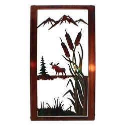 "Lazart - Moose Nature Wildlife Metal Wall Art - Moose Nature Wildlife Metal Wall Art. Beautifully self framed, this wildlife trio metal wall art is one of a collection of designs depicting wildlife in their natural habitat. Here we see a moose alongside a mountain lake. The color wash finish has been carefully hand painted for a natural affect while the copious white space best defines the beauty of the landscape. A honey pinion toned frame exudes glorious golden tones when struck by light, adding even more to the overall design. Measures 20""W."