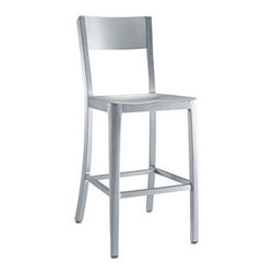"""LexMod - Milan Counter Stool in Silver - Milan Counter Stool in Silver - Cafe-inspired aluminum design with a timeless appeal. Make yourself a space where time stands still. Set Includes: One - Milan Counter Stool For Outdoor Use, 100% Recycled Aluminum, Dipped Anodized Finished, Lightweight and Sturdy Overall Product Dimensions: 18.5""""L x 16""""W x 37""""H Seat Height: 24""""H - Mid Century Modern Furniture."""