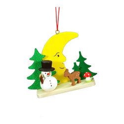 "Alexander Taron - Alexander Taron Christian Ulbricht Ornament-Snowman on Moon-2.25""Hx 2.75""Wx 1""D - Christian Ulbricht hanging ornament - Snowman, deer, and large moon - Made in Germany"