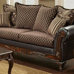 Chelsea Home - Traditional Sofa - Includes toss pillows. Diamond, fringe, contrasting striped with paisley pattern pillows. Sofa in sienna brown cover. Pillow in bi-cast brown fabric over high-density cover. Seating comfort: Medium. Plush, rolled arms. Dacron wrapped foam reversible seat cushions. Zippered cushions. 8.5 gauge medium loop sinuous springs spaced 5 in. apart. 1.8 density foam with 0.75 of fiber wrapping. Ornately carved wood trim. Fabric contains: 100% polyester. Made from mixed hardwoods and plywood. Made in USA. No assembly required. Seat: 68 in. L x 25.5 in. W x 22 in. H. Overall: 92 in. L x 34 in. W x 36 in. H (165 lbs.)The Chelsea Home Furniture Amelia Collections brings sense of Victorian elegance to any living room area. This beautiful set, by Chelsea Home Furniture, epitomizes Chelseas legendary reputation for quality and comfort.