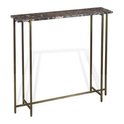 Interlude - Interlude Lara Console - The Lara Console combines chocolate marble with an antique brass finish base.