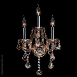 Worldwide Lighting Provence Wall Sconce W23103C13-AM - Worldwide Lighting Provence Collection 3 light Chrome Finish and Amber Crystal Candle Wall Sconce Light
