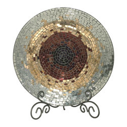 Dale Tiffany - Dale Tiffany Antique Gold Mosaic Modern/ Contemporary Charger Plate X-42701VA - All of the items in our Copper / Gold / Silver Series are hand set with a mosaic pattern of prismatic shades of copper, gold and silver. The multi colored metallic mosaic pattern on this decorative charger provides a warm splash of color in your home or office. A stunning choice for a mantle, entryway table, console or buffet.
