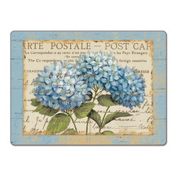 """Blue Hydrangeas 4 Hardboard, Cork-Back,Floral Placemats - Blue Hydrangeas Cork-back, Non-skid, Hardboard 15.75"""" x 11.5"""" Table Mat/Placemats are produced using layered construction for years of carefree use. This beautiful designer art product is special ordered  for you from the manufacturer. It is not returnable and may take a little longer to receive."""
