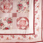 Renovators Supply - Quilts Red Check Floral Cotton Full/Queen 86'' Katarina Quilt - Quilt Bedding and Pillow Sham Pair. The Armoire Collection Katarina Quilt and sham pair feature colors of crimson red on an ivory background and patchwork accents. Crimson red check trim and accents. Embroidered patchwork designs feature roses and a garden scene that matches any decor. The Katarina design is reminiscent of vintage European homes in 100 percent  cotton. Machine wash cold, gently cycle. Do not bleach. Tumble dry low. Includes a pair of standard pillow shams 20 in. x 26 in. Full/Queen Size 86 in. x 86 in.