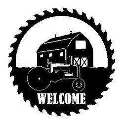Barn Tractor Metal Sawblade Black with Welcome Cutout - This listing is for one sawblade that looks like the picture.