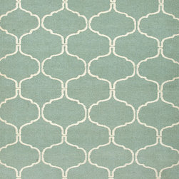 Moroccan Tile Wool Rug Aqua - Fabulous wool flat weaves!  Quality rugs!