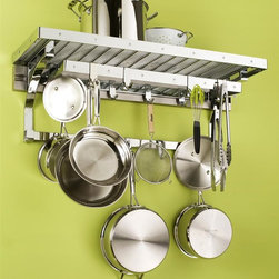 Pegrail - Gourmet Pot Rack - Wall mounted pot rack. Rectangular shape. Polished chrome finish. Optional utensil holder: 5 in. W x 4 in. D x 8 in. H. Pot rack: 36 in. W x 12 in. D x 15 in. H. Utensil holder is optional. Includes 36 in. pegrail, wire kitchen top shelf  and brackets with low bar, 28 in. pot rack, four single flat hooks, double flat hooks and single bar hooks. Utensil holder with saddle bracket that neatly slip over pot rack set's rear low bar, securing the kit in place. Two steel 8 in. H open sided holders with perforated bottoms. Lift out design and the perforated bottoms make cleaning and emptying easy. Perfect way to keep spatulas, whisks, tongs, other large utensils neat and organized. Assembly InstructionsOur most popular kitchen set, this is a fresh and flavorful twist on the traditional pot rack.