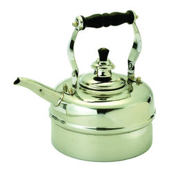 Old Dutch International - Windsor Whistling Teakettle - 3 quart capacity (2.5 Qt. usable capacity). Made from stainless steel, bakelite handle and knob. 8.50 in. dia. x 9.50 in. H (2.85 lbs.)3 Qt. stainless steel whistling tea kettle. This classically styled kettle features a unique whistle mechanism hidden in it's cover!