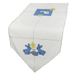 Xia Home Fashions - Baby Bunnies Table Runner, 15x72 - Precious blue bunnies with flower and Easter egg with green stitch trim. Great for Easter decor and cheerful accent for your family Easter gatherings!