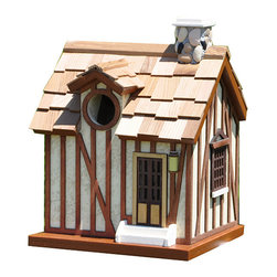 Home Bazaar - Guest Cottage Birdhouse - With stucco walls and a stone chimney, this exquisite birdhouse invites feathered friends to enter into an unpainted nest box fully equipped with ventilation, proper drainage holes and removable back wall. It features a 1.25-inch entry, pine shingles and an outdoor, water-based nontoxic paint that poses absolutely no risk to wildlife.   7.13'' W x 9.38'' H x 6.13'' D Walls, floor and roof board: exterior grade plyboard / stucco Details: kiln-dried hardwood / pine / polyresin Shingles: pine Chimney: stone Water-based nontoxic paint Spray clean Imported