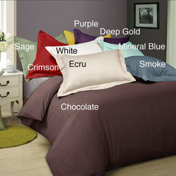 None - Solid 300 Thread Count 3-piece Duvet Cover Set - Sleep in cozy comfort with this soft duvet cover set. Its made of durable cotton and comes with two shams for your pillows so your bedding matches. The duvet has a button closure and the set comes in your choice of many different colors.