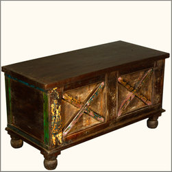 Rustic Double X Reclaimed Wood Standing Coffee Table Chest -