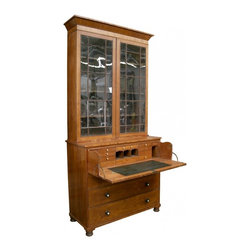 Secretary Bookcase - Made  in England in the  1810's  it is  clearly a period piece with all of the attribute of a George III secretary with  hidden drawer , leather inlay , ivory handle , bookcase on top and glass panel  .A knowledgeable dealer told me it is most likely an Irish piece , King George  III was first king of Ireland before unifying the kingdom.
