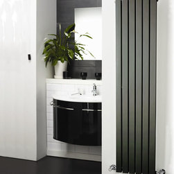 Hudson Reed - Anthracite Vertical Designer Radiator Hydronic Heater 70 x 14 & Valves - Six vertical panels, finished in superior anthracite powder coat (RAL7016), make this radiator a striking design feature of any contemporary living space. The vertical panels deliver an impressive heat output of 1002 Watts (3416 BTUs).Stylish and effective, this modern classic connects directly into your domestic central heating system by means of the reliable radiator valves included.Anthracite Vertical Flat Panel Designer Radiator 70 x 14 Features  Dimensions (H x W x D): 70 (1780mm) x 14 (354mm) x 2.15 (55mm) Output: 1002 Watts (3416 BTUs) Pipe centres with valves: 17 (430mm) Number of panels: 6 Fixing Pack Included (see image above) Designed to be plumbed into your central heating system Suitable for bathroom, cloakroom, kitchen etc. Weight: 38.6 lbs (18.5kg) Please note: angled radiator valves included Please note: This Designer Radiator is supplied with vertical mounting brackets only, it cannot be fitted horizontally with the fixings included  Please Note: Our radiators are designed for forced circulation closed loop systems only. They are not compatible with open loop, gravity hot water or steam systems.
