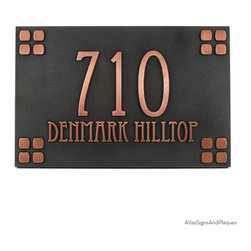 "Mission Style Address Sign 12"" x 8"" in Copper Patina - Our Mission Style Address Sign is very similar in style to our popular American Craftsman sign but uses the Eccentric Font which pays homage to the simple lines of Mission Style Furnishings, but with a flair. This Mission Style Address plaque should certainly be considered as you bring your home back to its design roots, even if it is not a revamped California Mission Church."