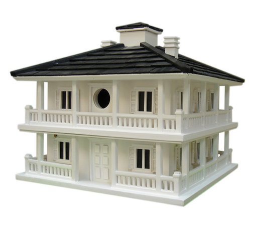 Home Bazaar - Club House Birdhouse - Golf and bird enthusiasts will love this historic plantation-style birdhouse. It's inspired by one of the most famous club houses in golf, but made especially for birds to nest and rest. Two separate nest boxes and four sides of balconies give birding parents lots of room to prepare for their babies.