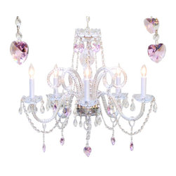 "The Gallery - Chandelier Lighting With Crystal Pink Hearts H25"" X W24"" - DRESSED WITH CRYSTAL HEARTS* A Great European Tradition. Nothing is quite as elegant as the fine crystal chandeliers that gave sparkle to brilliant evenings at palaces and manor houses across Europe. This beautiful crystal chandelier is decorated with 100% crystal that capture and reflect the light of the candle bulbs, each resting in a scalloped bobache. The timeless elegance of this chandelier is sure to lend a special atmosphere in every home. Please note this item requires assembly. This item comes with 18 inches of chain. SIZE: H.25"" X W.24"" 5 LIGHTS. Lightbulbs not included"