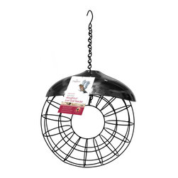 PineBush - Doughnut Suet Ball Feeder - Contemporary styling. Stainless steel rain cover. Holds up to 8 standard suet balls.