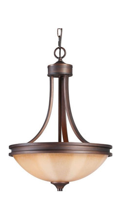 Golden Lighting - Hidalgo Pendant Bowl in Sovereign Bronze - Bulbs not included. Transitional style. Requires three 100 watt medium incandescent Type A bulbs. Sturdy and rugged feel. Spanish-influenced simple clean lines. Warm glowing regal glass shade looks like pillar candles. Provides a glowing presence with a high and diffuse light. Used in kitchen, foyer, living and bedroom. Brown wire gage. Three E27 type porcelain sockets in white. Electric wire gage: SPT-1.20288 18AWG 105 degree C. Maximum wattage: 100W. Total wattage: 300W. UL and CUL certified. UL listed for dry location. Made from metal, regal glass and polyresin. Chain length: 6 ft.. Wire length: 10 ft.. Backplate extension: 0.75 in.. Canopy back plate: 5 in. Dia.. Glass: 15.25 in. Dia. x 4.25 in. H. Overall: 16 in. W x 21.75 in. H (9.02 lbs.). Assembly Instructions. Warranty