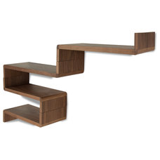 modern wall shelves Idaho Walnut Modular Shelf Set