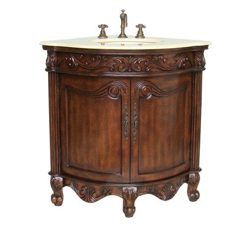 "Benton Collection - 24""  Bayview Corner Shape Bathroom Vanity #Q030-Cm - Dimensions: 24 x 24 x 34""H  approx."