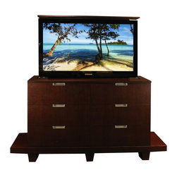Flat Screen TV lift cabinet, US Made Grand design comes in 5 woods & finishes - The Grand Flat Screen TV lift cabinet by Cabinet Tronix. This Grand shown is made out of  Mahogany with our Mahogany open pore finish.