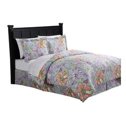 Pem America - Eliza King Bed Ensemble - Eliza features eye popping large floral prints with all the extras to complete your room.  These sets include comforter, shams, bed skirt and sheet set. Includes king size comforter 90x100 inches, bed skirt, and two standard shams (20x26 inches).Includes king size sheet set with flat sheet, fitted sheet, and two pillowcases. 100% hypoallergenic polyester. Machine washable.