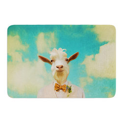"""KESS InHouse - Natt """"Passenger 6F"""" Goat Memory Foam Bath Mat (24"""" x 36"""") - These super absorbent bath mats will add comfort and style to your bathroom. These memory foam mats will feel like you are in a spa every time you step out of the shower. Available in two sizes, 17"""" x 24"""" and 24"""" x 36"""", with a .5"""" thickness and non skid backing, these will fit every style of bathroom. Add comfort like never before in front of your vanity, sink, bathtub, shower or even laundry room. Machine wash cold, gentle cycle, tumble dry low or lay flat to dry. Printed on single side."""
