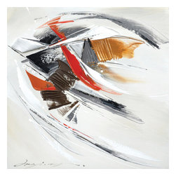YOSEMITE HOME DECOR - Progression II - Use your imagination on this visual wonder. This abstract canvas features thick brush strokes of color in shades of black, grey, red, and brown over a white background.