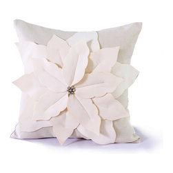 14 Karat Home - Poinsettia Pillow - It's a holiday delight.  This natural  poly-linen blend pillow is adorned with a full and beautiful felt poinsettia leaf.  In the center of the leaf is a cluster of Christmas bells.   This holiday designed pillow is perfect in any room in your home.